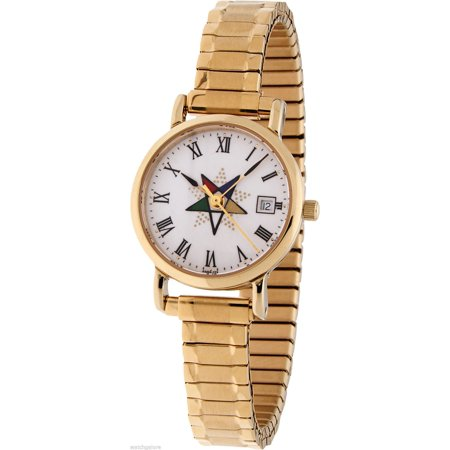 New Ladies Gold Plated Freemason Masonic Eastern Star Watch w/ Expansion Band