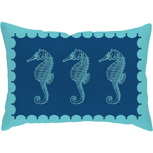 Checkerboard Lifestyle Seahorses in Blues Throw Pillow, Blue