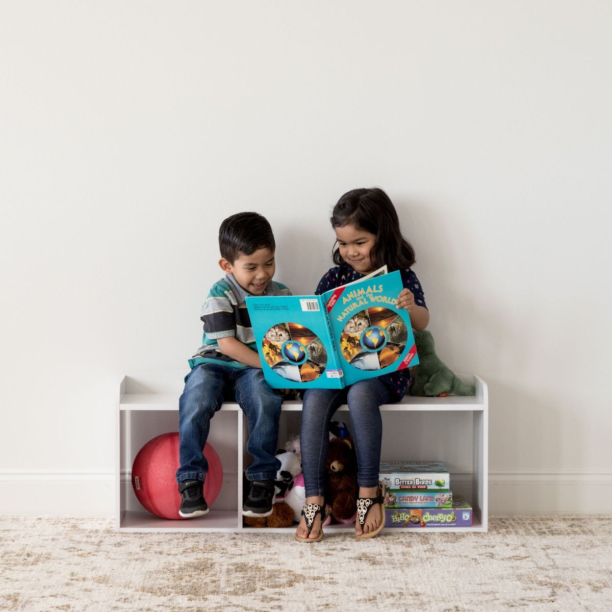 IRIS USA Kids Bookshelf Bench with Reading Nook, Multiple Colors