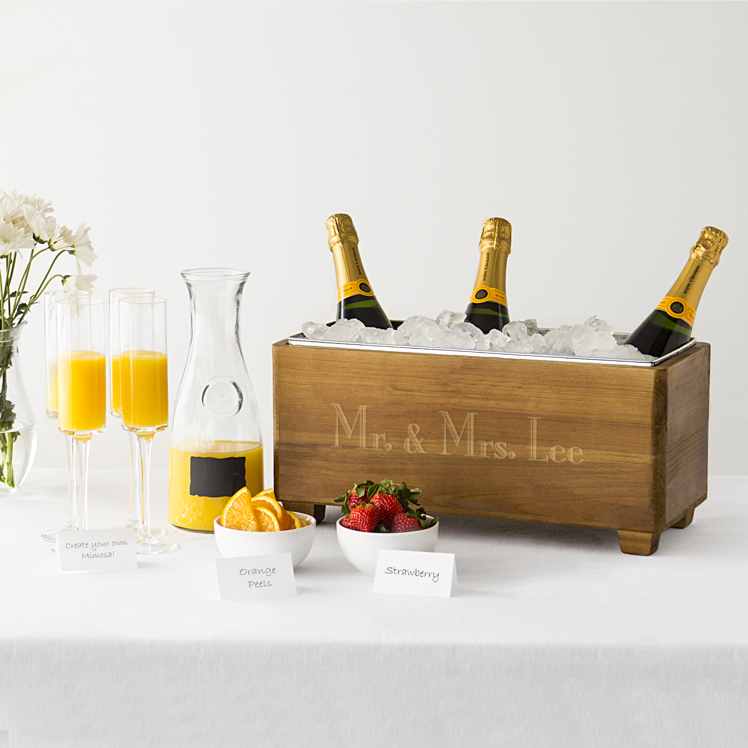 Personalized Wood Beverage Chiller Trough