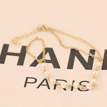 Woman Girl Peal Bead Bracelet Bangle Chain Wrist Bunch String Ornaments Decor Dress Finger Ring - image 2 of 8