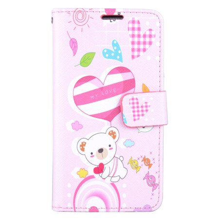 Samsung Galaxy J7 2016 Case, by Insten Cute Bear Stand Folio Flip Leather [Card Slot] Wallet Flap Pouch Case Cover For Samsung Galaxy J7 (2016), Pink - image 3 de 3