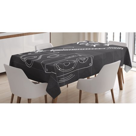 Guitar Tablecloth, Love The Rock Music Themed Sketch Art Sound Box and Text on Chalkboard Print, Rectangular Table Cover for Dining Room Kitchen, 60 X 84 Inches, Dark Taupe White, by Ambesonne