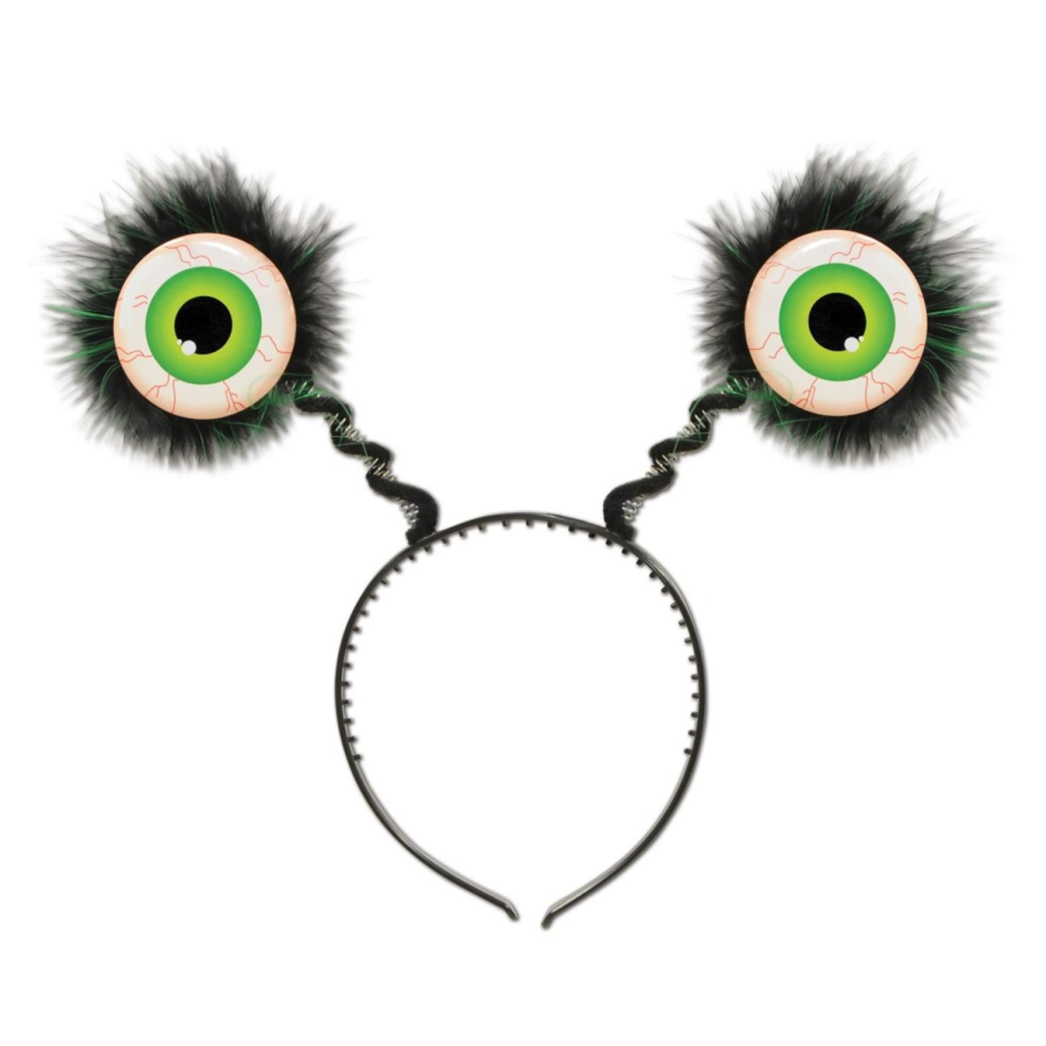 Club Pack of 12 Halloween Feathered Green Eyeball Bopper Headbands