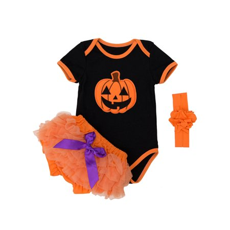 StylesILove Chic Pumpkin Bodysuit Bloomers and Headband Halloween Costume 3 pcs Outfit Set (M/3-6 Months) (Pumpkin Head Halloween Dance)
