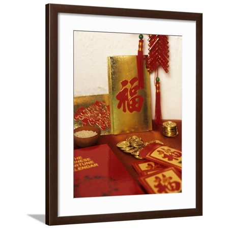 Chinese Good Luck Symbols for New Year (Gold Coins & Rice) Framed Print Wall Art Chinese Good Luck Coins