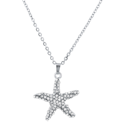 Lux Accessories SilverTone Crystal Rhinestone Nautical Aquatic Starfish Necklace - Forplay Rhinestone Necklace