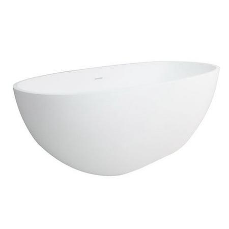 Solid Surface Bathtub Wall Panel (Kingston Brass Aqua Eden Claira Solid Surface 64.95'' x 31.88'' Freestanding Soaking Bathtub )