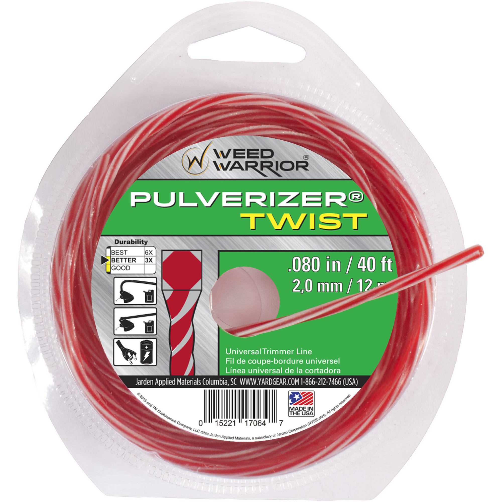 Weed Warrior Replacement Bicomponent Twist Trimmer Line .80, 40 ft. Loop Donut