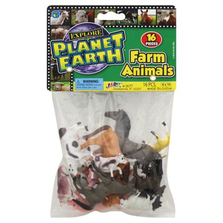 Ja-ru Planet Earth Farm Animals 16 Pieces Per Pack Ages 4 and Up (Plastic Farm Animals)