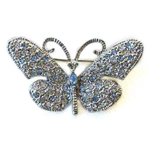Platinum-Plated Swarovski Crystal Butterfly Design Brooch Pin by