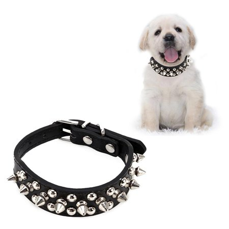 HURRISE Leather Dog Collar Spiked Rivet Studded Dog Collar For Dogs Cats Kitten Puppy Black