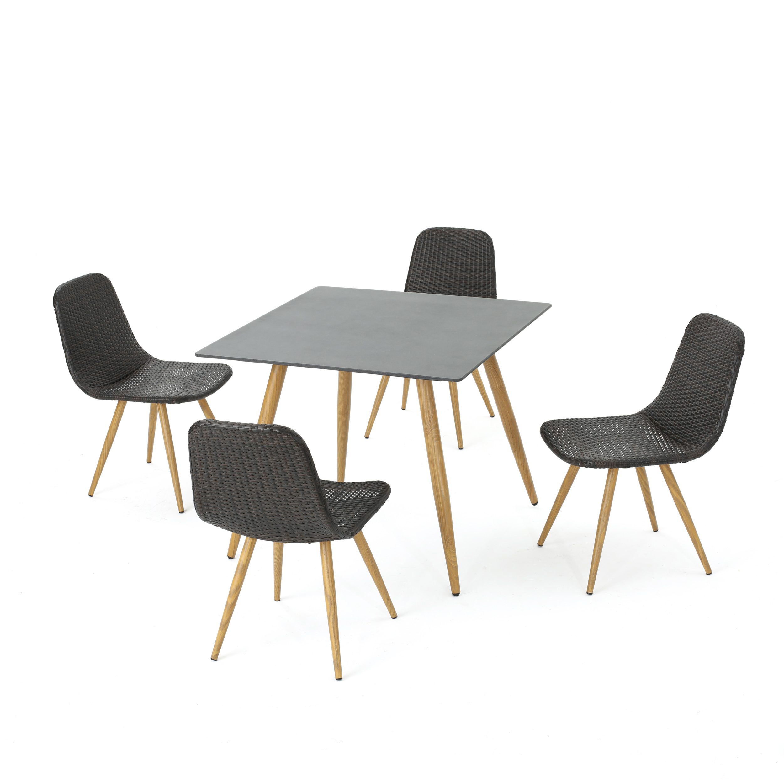 Gilda Outdoor 5 Piece Wicker Square Dining Set with Tempered Glass Table Top, Multibrown and Light Brown