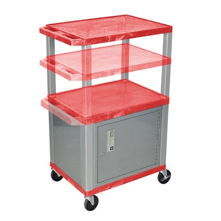 Luxor Stainless Steel Rolling Utility Cart With Locking Cabinet Red and Nickel