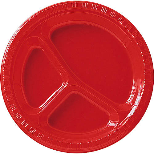 "10 1/4"" Divided Plates, Red (Pack of 20)"