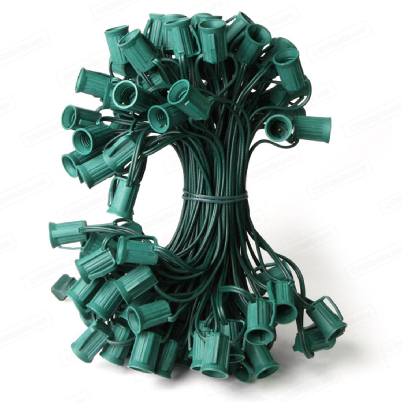 "100' Commercial C7 100 Socket Set - 12"" Spacing 16 Gauge Green Wire"