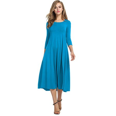 Women's 3/4 Sleeve A-Line and Flare Midi Long (Green Blue Flare)