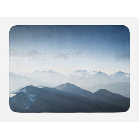 Mountain Bath Mat, Foggy Scenic Morning in Rock Mountain Region in Northern Hiking Climbing Ice Photo, Non-Slip Plush Mat Bathroom Kitchen Laundry Room Decor, 29.5 X 17.5 Inches, Pale Blue, Ambesonne