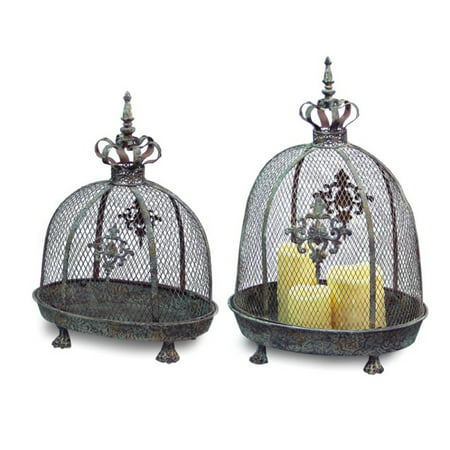 Set of 2 Renaissance Style Distressed Crown Top Dome Pillar Candle (Crown Pillar)