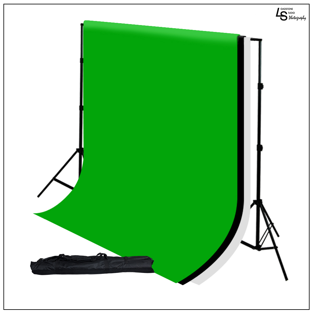 "10"" x 12"" Chromakey Black, White, and Green Muslin Backdrop Kit with Backdrop Support System by Loadstone Studio WMLS0507"
