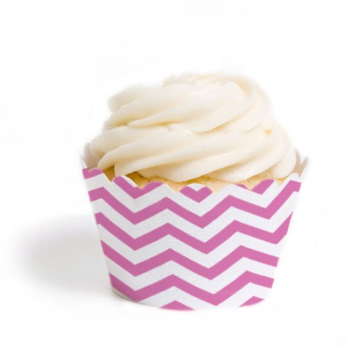 Dress My Cupcake Standard Cupcake Wrappers, Chevron, Cherry Blossom Pink, Set of 12