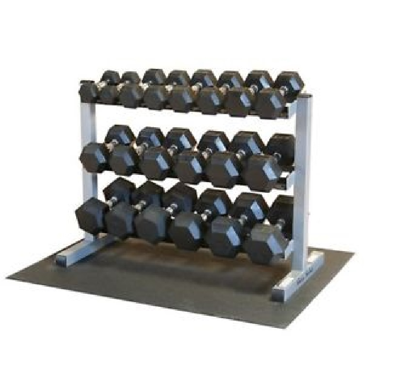 Body-Solid 5-50 Rubber Hex Dumbbell Set & GDR363 Rack and Rubber Mat by