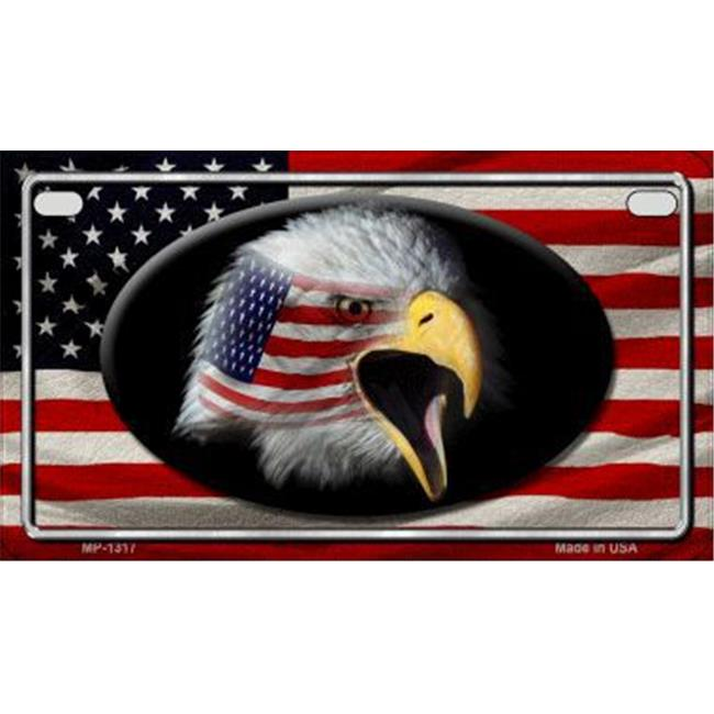 Smart Blonde MP-1317 American Flag Eagle Metal Novelty Motorcycle License Plate