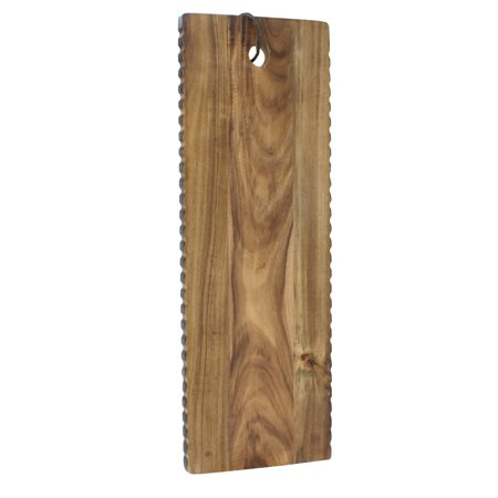 Gold Natural Wood Cheese Board - Elements 18 inch Wave Edge Acacia Wood Cheese Board