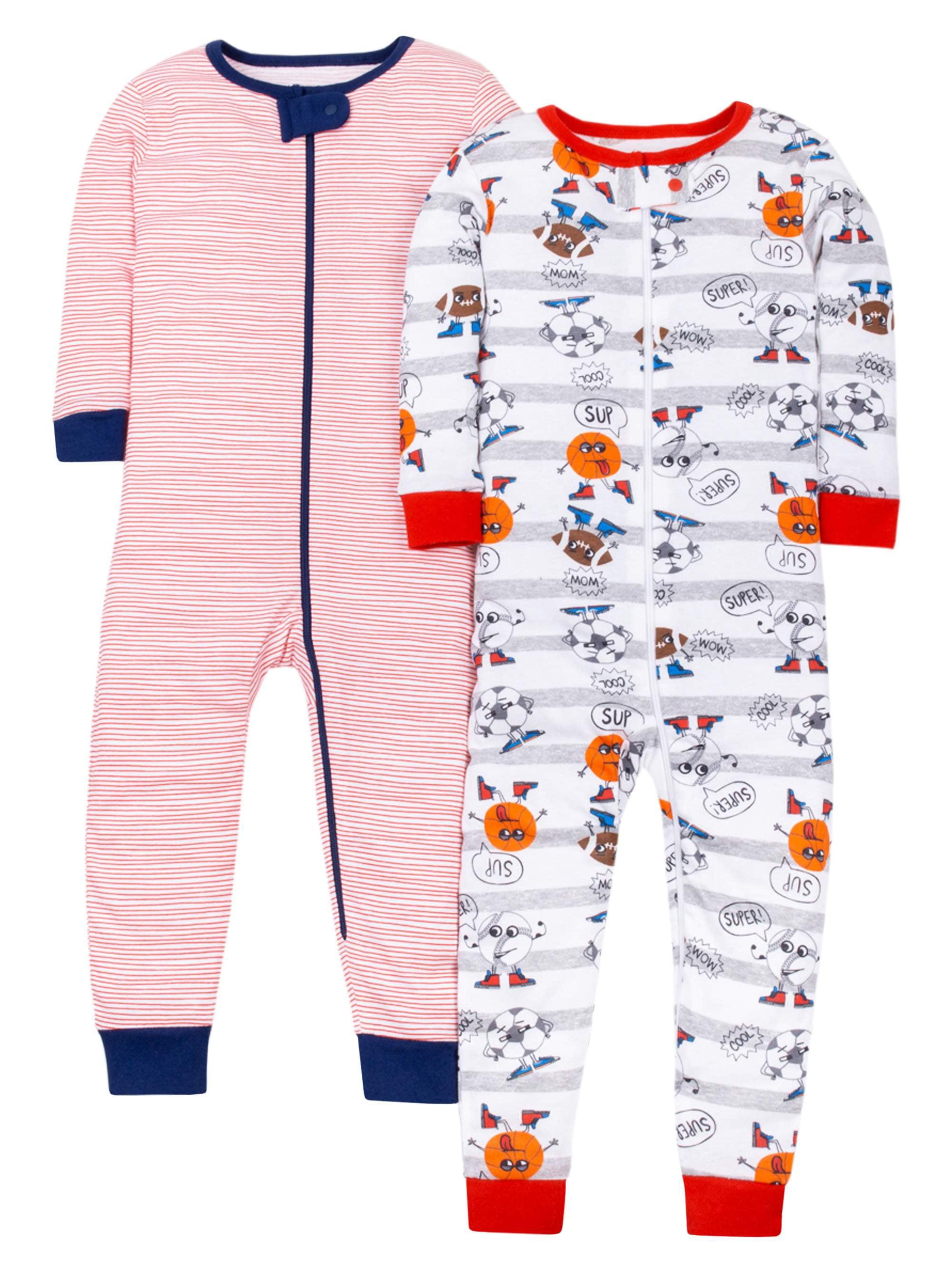 100% Organic Cotton Footless Stretchies Pajamas, 2-pack (Baby Boys & Toddler Boys)