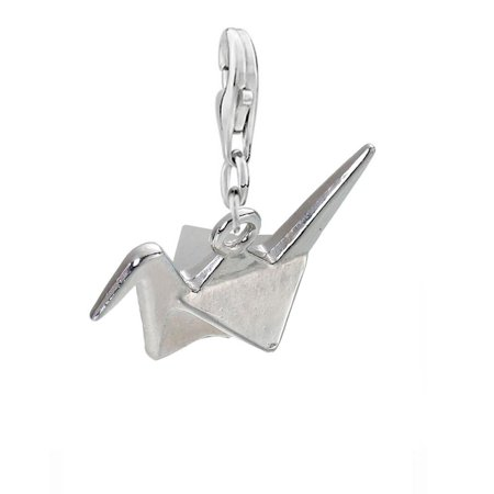 SEXY SPARKLES Clip on with Lobster Clasp 3D Origami Bird Paper Crane Flapping Bird Dangling Charm for Bracelets or Necklace