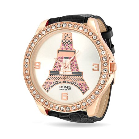 Eiffel Tower Paris Large Round White Dial Rose Gold Plated Wrist Watch For Women Crystal Bezel Black Leather Band