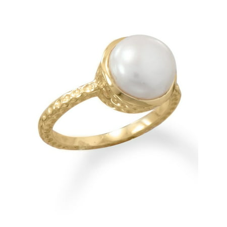 7mm White Freshwater Pearl Ring (Gold-plated 9.5-10mm White Cultured Freshwater Pearl Ring Hammered Band)