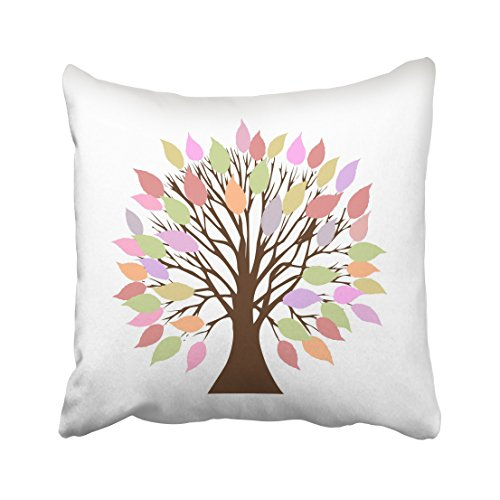WinHome Colorful Tree Design Pink And Green And Orange Decorative Pillowcases With Hidden Zipper Decor Cushion Covers Two Sides 18x18 inches