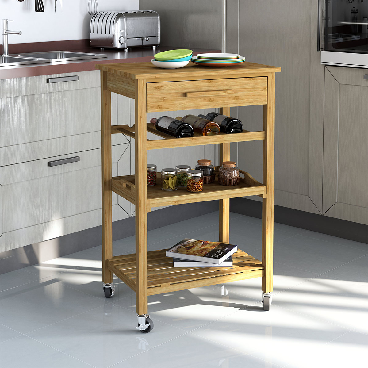Merveilleux Rolling Bamboo Kitchen Cart Island Trolley, Cabinet W/ Wine Rack Drawer  Shelves