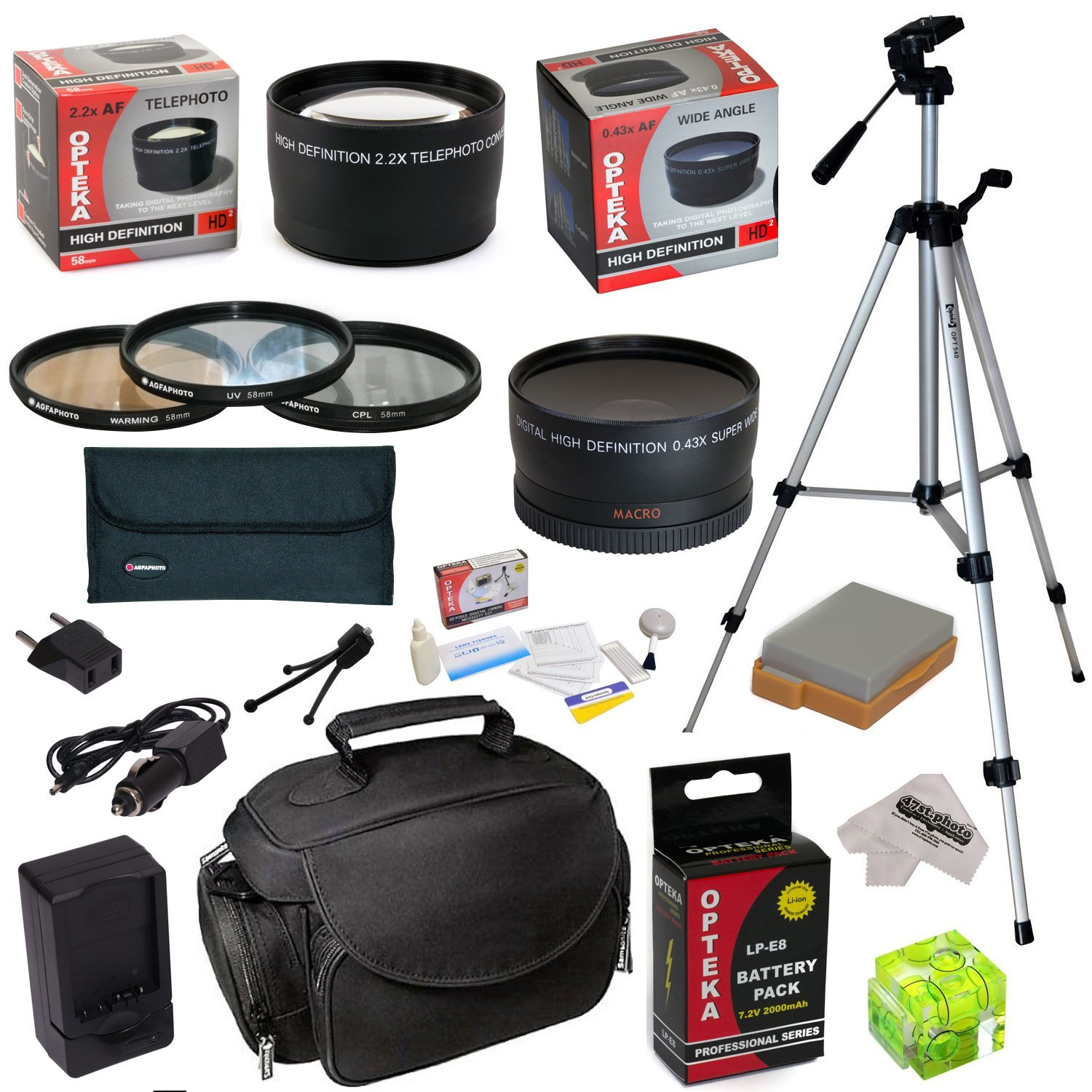 Must Have Accessory Kit For Canon EOS T2i T3i T4i T5i DSLR Camera with 58mm 3 Piece Filter Kit, 2.2x Lens, 0.43x Fisheye Lens, LP-E8 Battery with Charger, Tripod, Case, Three Axis Level, Cleaning Kit