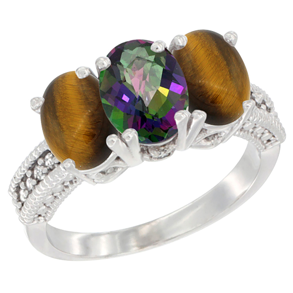 14K White Gold Natural Mystic Topaz & Tiger Eye Sides Ring 3-Stone 7x5 mm Oval Diamond Accent, sizes 5 - 10