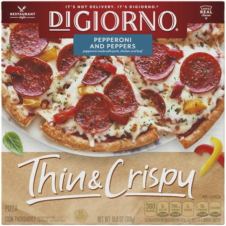 DIGIORNO Pepperoni and Peppers, Thin & Crispy Crust Pizza, 10.6 oz. (Frozen)