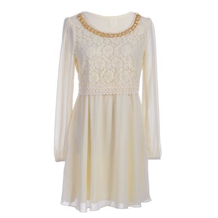 S/M Fit Soft Yellow with Gold Chain Trim Neckline Lace Bodice Dress ()