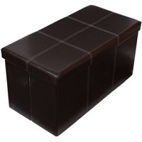 Birdrock Home Faux Leather Storage Ottoman Bench