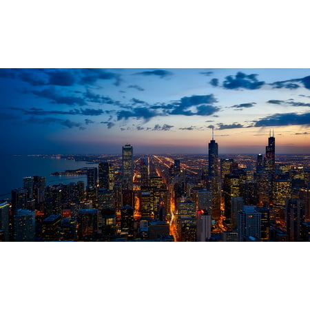LAMINATED POSTER Illinois City Cityscape Urban Skyline Chicago Poster Print 24 x 36 (Party City Hours Chicago)