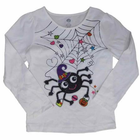 infant toddler girls halloween tee shirt white glitter spider web t shirt