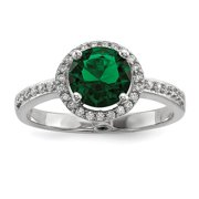 Sterling Silver White & Green CZ Rhodium Ring