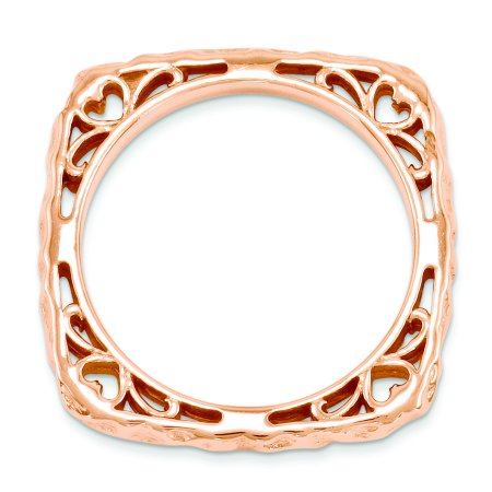 Sterling Silver Stackable Expressions Polished Pink-plate Square Ring Size 6 - image 1 de 3