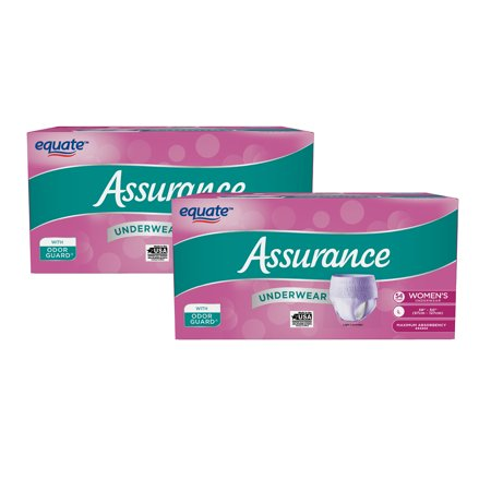 (2 Pack) Assurance Incontinence Underwear for Women, Maximum, L, 54