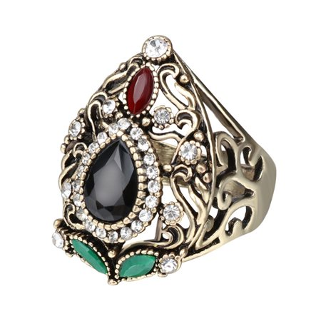 Women Retro Style Wide Ring Creative Hollow Rhinestone Rings - Rhinestone Rings