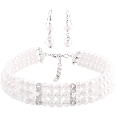 Silver Tone 3 Strand Faux Pearl and Crystal Choker Fashion Necklace and Earring Set, 9 1/2