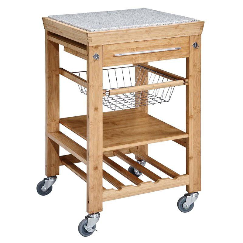 Linon Cameron Kitchen Cart With Granite Top, Black Finish   Walmart.com