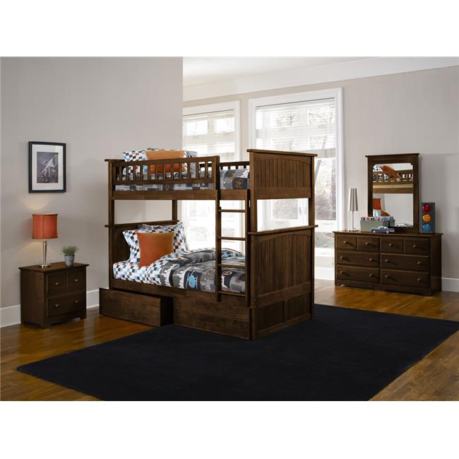 Nantucket Bunkbed with Urban Bed Drawers - Antique Walnut, Full Over Full Size
