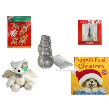 "Christmas Fun Gift Bundle [5 Piece] -  Touch of Gold 1-Step Iron-On Foil Poinsettias - Let It Snow Glass Ornament Deer - Nordic Ware Snowman Cake Pan - Angel Bear  8"" - Puppy"