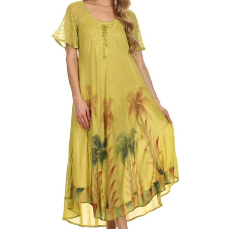 Sakkas Kai Palm Tree Caftan Tank Dress / Cover Up - Avocado - One Size - Purple Dress Up Ideas
